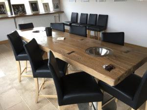 Table d'espace dégustation